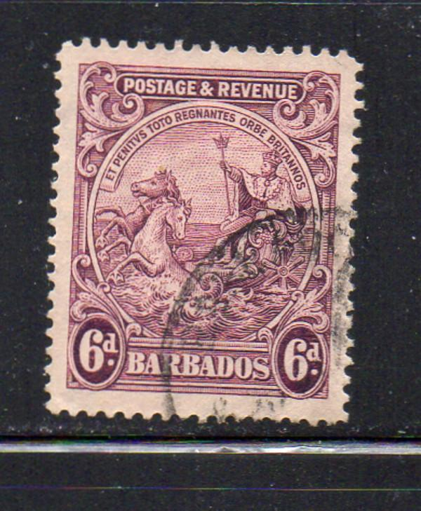 Barbados Sc 174 1925 6d claret seal stamp used
