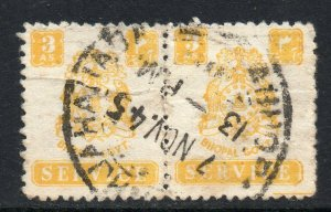 Indian States Bhopal 1944 KGVI Official 3a pair SG O354 used CV £52