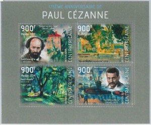 880 - CENTRAL AFRICAN R. - ERROR MISSPERF stamp sheet - 2014  Paul Cezanne ART