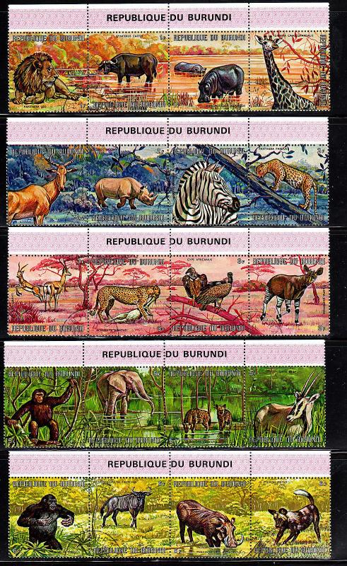 BURUNDI #355-359  ANIMALS  MINT  VF NH  O.G STRIPS OF 4
