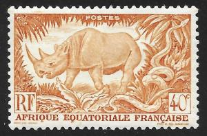 French Equatorial Africa #168 40c Black Rhinoceros & Rock Python ~ MHR