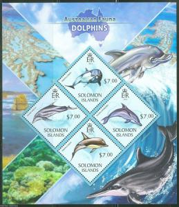 SOLOMON ISLANDS 2013 AUSTRALIAN FAUNA  DOLPHINS SHEET