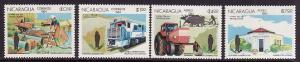 D4-Nicaragua-Sc#1374-7-unused NH set-Trains-Heavy Equipment-