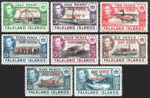 Falkland South Georgia 3L1-3L8, MNH. Ovptd. SOUTH GEORGIA DEPENDENCY OF, 1944