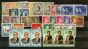 South West Africa Scott 125 // 313 Mint NH complete sets (Catalog Value $56.15)