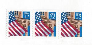 United States, 2913l, 32c Flag/Porch Strip(3) Plt:33333,MNH