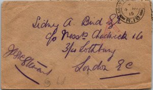 1918 London WWI censored stamp army mail unstamped