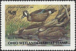 OH6 Mint,OG,NH... State Duck Stamp.. SCV $12.00