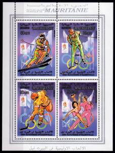 Mauritania 1990 Mi#982II/985II ALBERTVILLE OLYMPICS COLLECTIVE SS PERFORATED MNH