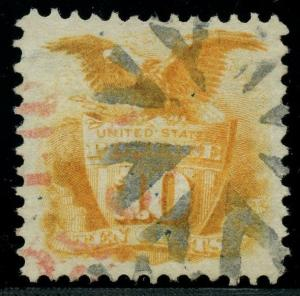 #116 XF USED WITH BLACK FANCY CANCEL & PARTIAL RED CANCEL CV $440 BT1648