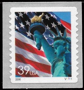 Sc 3980  39¢ Lady Liberty Plate # Single, MNH