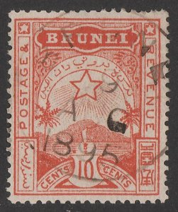 BRUNEI : 1895 Star & Local Scene 10c orange-red.