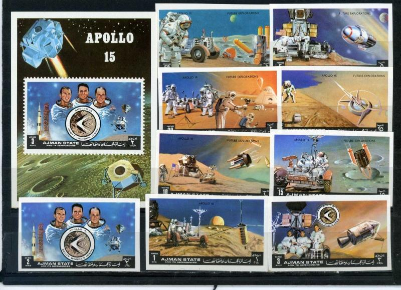 AJMAN 1972 SPACE RESEARCH/APOLLO 15 SET OF 9 STAMPS & S/S IMPERF.MNH