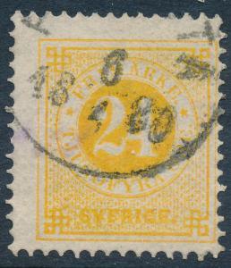 Sweden Scott 34/Facit 34c, 24ö orange-yellow Ringtyp p.13, F Used