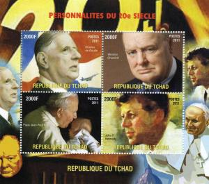 Chad 2011 DE GAULLE CHURCHILL KENNEDY s/s Perforated Mint (NH)