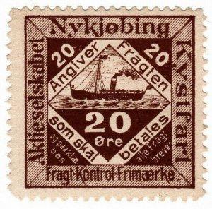 (I.B) Denmark Cinderella : Nykjøbing Coastal Shipping - Parcels 20 Øre