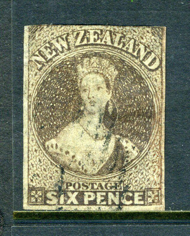 NZ sc#9 6p Queen Imperf - Used  cv$350.00