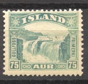 Iceland 1931 Gullfoss Waterfall top value Scott 175, mint
