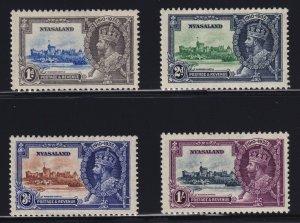 Nyasaland Sc #47-50 (1935) King George V Silver Jubilee Set Mint VF H