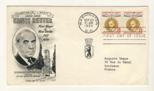 US - 1959 - Scott 1137 FDC - ERNST REUTER, Mayor of Berlin 1951/59 - Pair