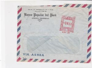 Peru Banco popular del Peru Lima machine cancel air mail stamps cover ref 21631