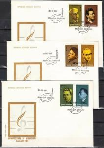 Romania, Scott cat. 3027-3032. Composers & Musicians issue. 3 First day Covers.