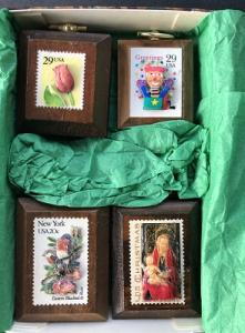 Group of 4 small 3D wood carved stamp plaques