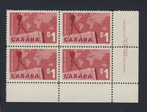4x Canada MNH Stamps Plate Block 1 LR #411-$1.00 MNH VF Guide Value = $90.00