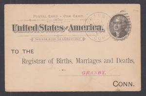 US Sc UX12 used. 1904 Registrar of Births, Marriages & Deaths postal card