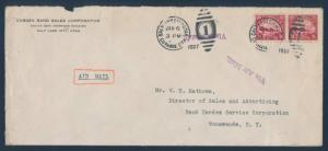 #C6 PAIR ON FLIGHT COVER UTAH TO NEW YORK JAN 6,1927 BU5283