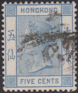 Hong Kong 1863-90 used Sc 11 5c Victoria