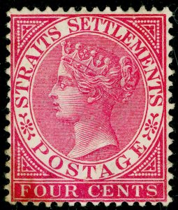 MALAYSIA - Straits Settlements SG51, 4c rose, UNUSED. Cat £150.