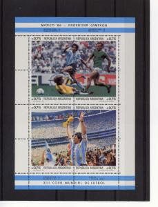 Argentina 1986 Football Soccer Mexico 2 Sheets Perforated mnh.vf