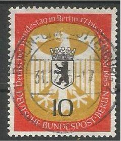 BERLIN, 1955, used 10pf Arms of Berlin Scott 9N116
