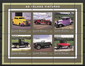 Guinea-Bissau MNH S/S Antique Cars 2001 6 Stamps