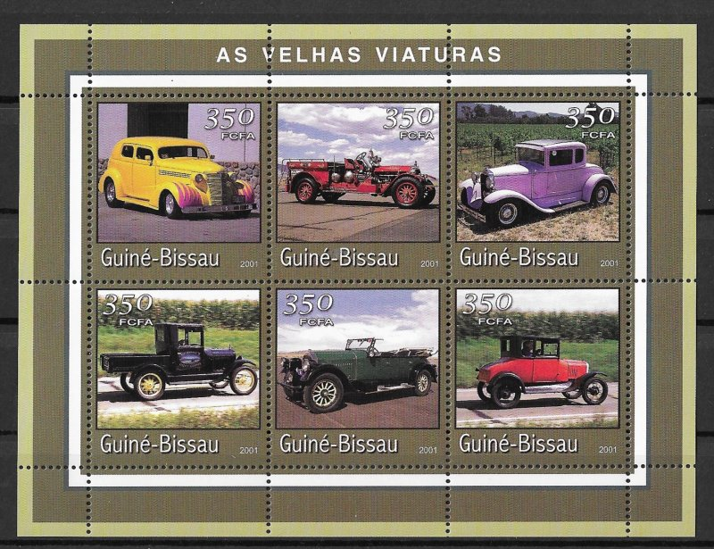 Guinea-Bissau MNH S/S Antique Cars 2001 6 Stamps