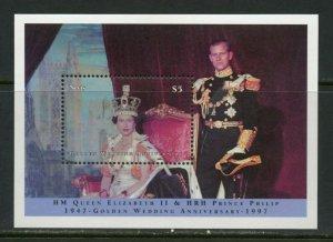NEVIS  GOLDEN WEDDING QUEEN ELIZABETH II &  PHILIP S/SHT MINT NH