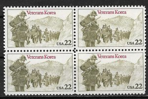 1985 USA 2052 Veterans Korea MNH block of 4