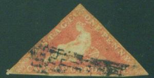 Cape of Good Hope Triangle Scott 3, rose on white 1857
