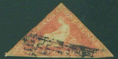 Cape of Good Hope Triangle Scott 3, rose on white 1857
