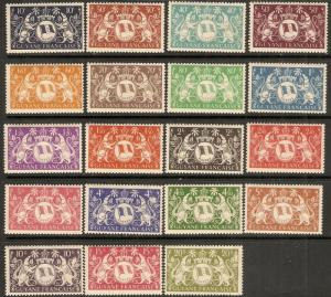 1945 French Guiana Scott 173-191 Arms of Cayenne MNH all have transfer on gum