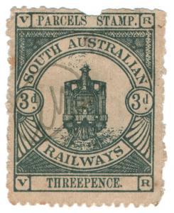 (I.B) Australia - South Australia Railways : Parcels Stamp 3d