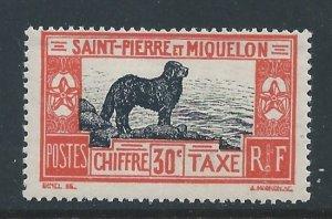 St. Pierre & Miquelon #J25 MH 30c Newfoundland Dog Postage Due