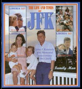 LIBERIA THE LIFE & TIMES OF JOHN F. KENNEDY  SHEET II  MINT NEVER  HINGED
