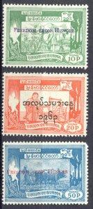 Burma Sc# 173-175 MH 1963 Overprints