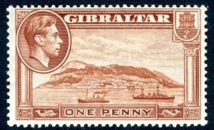 GIBRALTAR-1940 1d Yellow-Brown Perf 13½  Sg 122a LIGHTLY MOUNTED MINT V18867