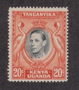 Kenya Uganda Tanganyika Sc 74d MLH. 1941 20c KGVI & Cranes, rare perf 14 F-VF