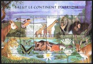 Kinshasa. 2000. Small sheet 1411-12. African fauna, hippo, butterflies. MNH.