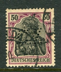 GERMANY; Early 1900s Germania issue fine used value + PERFIN , 50pf.