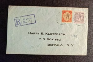 1923 Castries St Lucia Registered Cover to Buffalo NY Via New York City